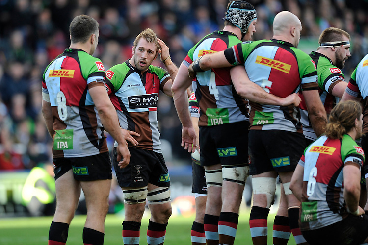 Chris Robshaw of Harlequins talks to Nick Easter of Harlequins during the Heineken Cup Round 5 match between Harlequins and ASM Clermont Auvergne at the Twickenham Stoop on Saturday 11th January 2014 (Photo by Rob Munro)