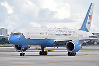 MIAMI, FL - OCTOBER 15: US President Donald Trump arriving at Miami International Airport on October 15, 2020 in Miami, Florida. The President was greeted by Carlos A. Giménez Mayor of Miami-Dade County and professional mixed martial arts fighter Jorge Masvida. The president is in town to do a town hall tonight prior to the 2020 election which is in 19 days  Credit: Hoo-me / MediaPunch