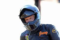 Nov 13, 2016; Pomona, CA, USA; NHRA pro stock motorcycle rider Jerry Savoie during the Auto Club Finals at Auto Club Raceway at Pomona. Mandatory Credit: Mark J. Rebilas-USA TODAY Sports