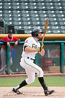 Kyle Kubitza (10) of the Salt Lake Bees at bat against the Tacoma Rainiers in Pacific Coast League action at Smith's Ballpark on May 7, 2015 in Salt Lake City, Utah. The Bees defeated the Rainiers 11-4 in the completion of the game that was suspended due to weather on May 6, 2015.(Stephen Smith/Four Seam Images)