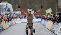 Joris Nieuwenhuis (NED/U23) crowns himself the new U23 CX World Champion<br /> <br /> UCI 2017 Cyclocross World Championships<br /> <br /> january 2017, Bieles/Luxemburg