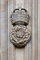 UK, England, Cambridge.  King's College Chapel, Tudor Rose and Crown.