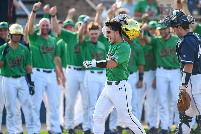 June 5, 2021; David LaManna celebrates after hitting a home run against Uconn in the NCAA Baseball regional tournament at Eck Baseball Stadium. (Photo by Matt Cashore/University of Notre Dame)