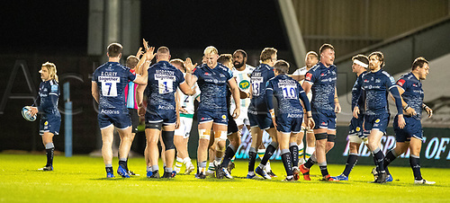 20th November 2020; AJ Bell Stadium, Salford, Lancashire, England; English Premiership Rugby, Sale Sharks versus Northampton Saints; Sale forwards celebrate as they disrupt a Northampton scrum and win a penalty