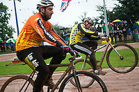 31 AUG 2015 - IPSWICH, GBR - Andy Angell (right) of Hull makes a last second surge past Lee Aris of Wednesfield to win a heat during the Open British Cycle Speedway Championships at Whitton Sports and Community Centre in Ipswich, Suffolk, Great Britain (PHOTO COPYRIGHT © 2015 NIGEL FARROW, ALL RIGHTS RESERVED)