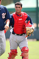 October 6, 2009:  Catcher Sandy Leon of the Washington Nationals organization during an Instructional League game at Disney's Wide World of Sports in Orlando, FL.  Leon was signed as a non-drafted free agent.  Photo by:  Mike Janes/Four Seam Images
