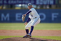 High Point Panthers pitcher Griffyn Shelton (26) in action against the Bryant Bulldogs at Williard Stadium on February 21, 2021 in  Winston-Salem, North Carolina. The Panthers defeated the Bulldogs 3-2. (Brian Westerholt/Four Seam Images)