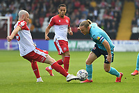 Jake Taylor of Stevenage FC and Matt Jay of Exeter City during Stevenage vs Exeter City, Sky Bet EFL League 2 Football at the Lamex Stadium on 9th October 2021