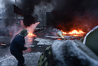 Rioters homemade rudimentary rocket launcher during the   protest against new draconian law to ban the right to  protest across the country.  Kiev. Ukraine