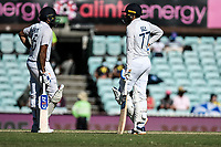 10th January 2021; Sydney Cricket Ground, Sydney, New South Wales, Australia; International Test Cricket, Third Test Day Four, Australia versus India; Rohit Sharma and Shubman Gill of India wait for a third umpire decision