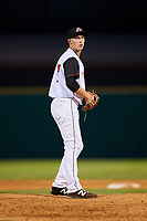 Arkansas Travelers relief pitcher Ryan Horstman (17) gets ready to deliver a pitch during a game against the Midland RockHounds on May 25, 2017 at Dickey-Stephens Park in Little Rock, Arkansas.  Midland defeated Arkansas 8-1.  (Mike Janes/Four Seam Images)