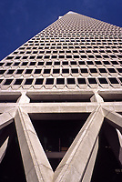 San Francisco, California - Transamerica Building Support Structure, showing how the base of the building incorporates design features to render the building less susceptible to earthquake damage.  The Transamerica pyramid was opened in 1972.