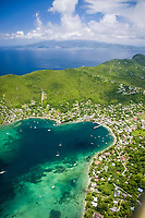 aerial, Bequia harbor (Port Elizabeth) with St. Vincent in background, Caribbean, Atlantic