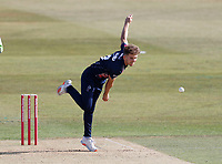 Matt Milnes bowls for Kent during Kent Spitfires vs Essex Eagles, Vitality Blast T20 Cricket at The Spitfire Ground on 18th September 2020