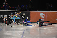 SPEEDSKATING: DORDRECHT: 06-03-2021, ISU World Short Track Speedskating Championships, SF 1500m Ladies, Aurelle Monvoisin (FRA), Cynthia Mascitto (ITA), Natalia Maliszewska (POL), Kristen Santos (USA), Hanne Desmet (BEL), ©photo Martin de Jong