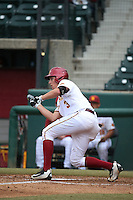 C.J. Stubbs (3) of the Southern California Trojans bunts during a game against the Mississippi State Bulldogs at Dedeaux Field on March 5, 2016 in Los Angeles, California. Mississippi State defeated Southern California , 8-7. (Larry Goren/Four Seam Images)