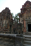 Angkorian temple Preah Ko at Roluos (late 9th century) 880.<br /> Preah Ko temple was built in the reign of Indravarma I. Preah Ko was the first monument to be constructed at the site of Hariharalaya, the ancient capital city of the Khmers. Preah Ko temple was dedicated to the worship of Shiva.