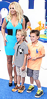 LOS ANGELES, CA - JULY 28: Britney Spears, Sean Federline and Jayden James Federline attend the premiere Of Columbia Pictures' 'Smurfs 2' at Regency Village Theatre on July 28, 2013 in Los Angeles, California.