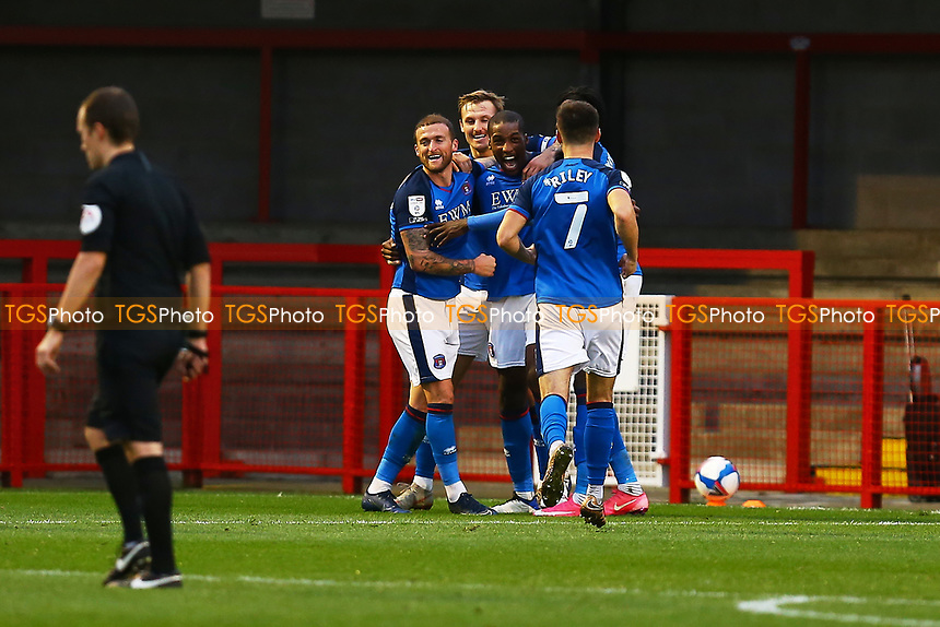Aaron Hayden (Centre) of Carlisle United scores the third goal for his team and celebrates during Crawley Town vs Carlisle United, Sky Bet EFL League 2 Football at Broadfield Stadium on 21st November 2020