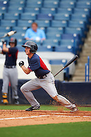 Cory Wood (2) of Sanderson High School in Raleigh, North Carolina playing for the Cleveland Indians scout team during the East Coast Pro Showcase on July 28, 2015 at George M. Steinbrenner Field in Tampa, Florida.  (Mike Janes/Four Seam Images)