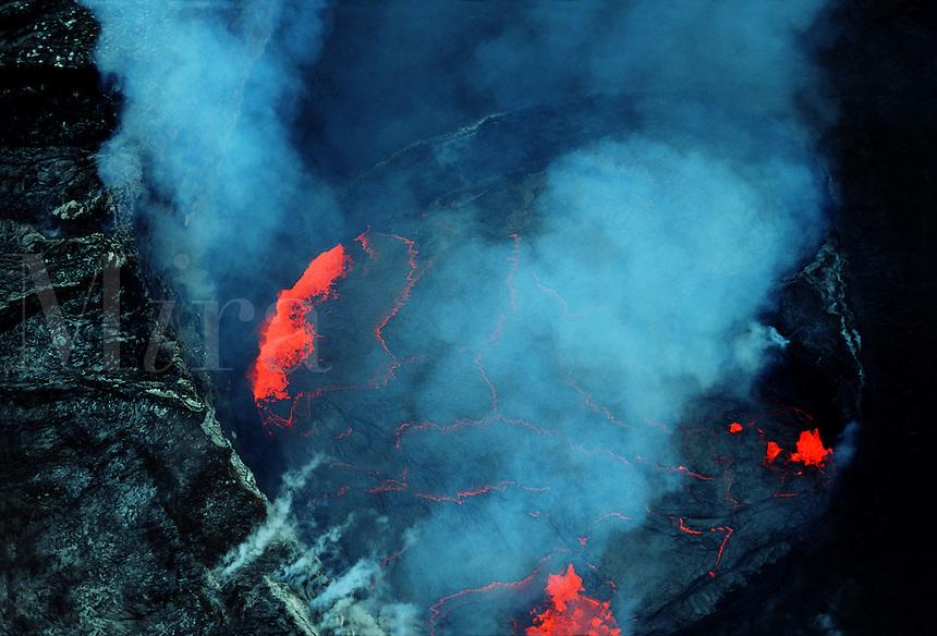 Aerial view looking directly into the lava lake inside Pu'u O'o Crater, Kilauea, Hawaii.