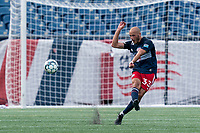 FOXBOROUGH, MA - JULY 25: USL League One (United Soccer League) match. Tiago Mendonca #33 of New England Revolution II passes the ball during a game between Union Omaha and New England Revolution II at Gillette Stadium on July 25, 2020 in Foxborough, Massachusetts.