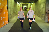 Houston, TX - Sunday Oct. 09, 2016: Stephanie Labbe, Kelsey Wys prior to a National Women's Soccer League (NWSL) Championship match between the Washington Spirit and the Western New York Flash at BBVA Compass Stadium.