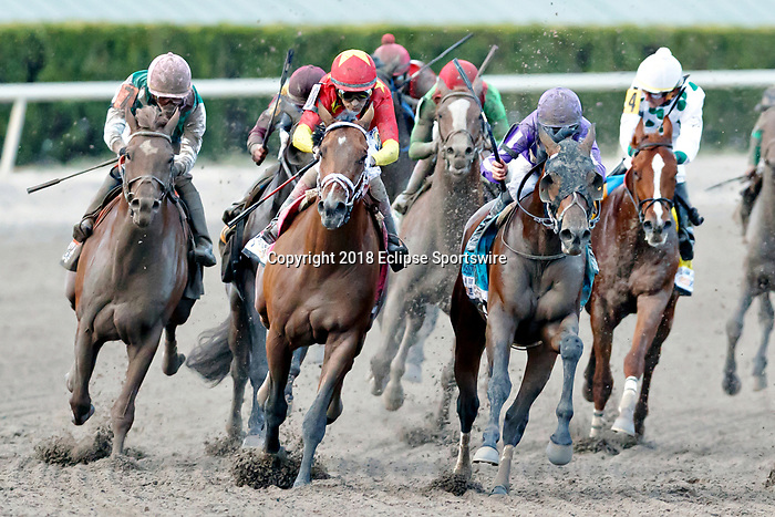 HALLANDALE BEACH, FL - MAR 31:Audible #8 (2nd from left) trained by Todd A. Pletcher with John Velazquez in the irons contends for the lead at the final turn on the way to winning the Xpressbet Florida Derby (G1) at Gulfstream Park on March 31, 2018 in Hallandale Beach, Florida. (Photo by Bob Aaron/Eclipse Sportswire/Getty Images)