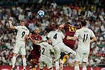 Real Madrid's (L-R) Karim Benzema, Dani Carvajal, Sergio Ramos and Gareth Bale and AS Roma's (L-R) Steven Nzonzi and Federico Fazio during Champions League match. September 19, 2018. (ALTERPHOTOS/A. Perez Meca)