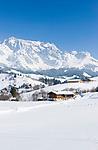 Oesterreich, Salzburger Land, Pinzgau, Dienten am Hochkoenig: Wintersportregion vorm Hochkoenig  | Austria, Salzburger Land, Pinzgau, Dienten am Hochkoenig: wintersport resort and Hochkoenig mountains