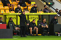 3rd October 2020; Carrow Road, Norwich, Norfolk, England, English Football League Championship Football, Norwich versus Derby; Norwich City Manager Daniel Farke complains about a referee decision