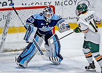 1 December 2018: University of Maine Black Bear Goaltender Carly Jackson, a Junior from Amherst, Nova Scotia, has a shot drift by during in the second period against the University of Vermont Catamounts at Gutterson Fieldhouse in Burlington, Vermont. The Lady Cats defeated the Lady Bears 3-2 in the second game of their 2-game Hockey East series. Mandatory Credit: Ed Wolfstein Photo *** RAW (NEF) Image File Available ***