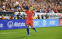 PHILADELPHIA, PA - AUGUST 29: Carli Loyd #10 celebrates her goal during the USWNT 2019 Victory Tour match versus Portugal at Lincoln Financial Field on August 29, 2019 in Philadelphia, PA.