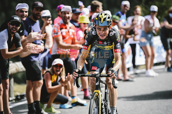 Sepp Kuss (USA) Jumbo-Visma attacks out of the breakaway during Stage 15 of the 2021 Tour de France, running 191.3km from Ceret to Andorre-La-Vieille, France. 11th July 2021.  <br /> Picture: A.S.O./Pauline Ballet   Cyclefile<br /> <br /> All photos usage must carry mandatory copyright credit (© Cyclefile   A.S.O./Pauline Ballet)