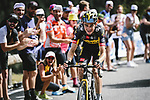Sepp Kuss (USA) Jumbo-Visma attacks out of the breakaway during Stage 15 of the 2021 Tour de France, running 191.3km from Ceret to Andorre-La-Vieille, France. 11th July 2021.  <br /> Picture: A.S.O./Pauline Ballet | Cyclefile<br /> <br /> All photos usage must carry mandatory copyright credit (© Cyclefile | A.S.O./Pauline Ballet)