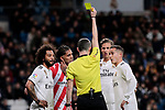 Real Madrid's (L-R) Marcelo Vieira, Marcos Llorente and Lucas Vazquez have words with the referee during Copa del Rey match between Real Madrid and Girona FC at Santiago Bernabeu Stadium in Madrid, Spain. January 24, 2019. (ALTERPHOTOS/A. Perez Meca)