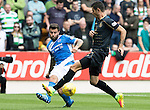 St Johnstone v Celtic…20.08.16..  McDiarmid Park  SPFL<br />Richie Foster clears from Nir Bitton<br />Picture by Graeme Hart.<br />Copyright Perthshire Picture Agency<br />Tel: 01738 623350  Mobile: 07990 594431