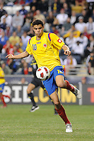 Giovanni Moreno (10) of Colombia (COL). The men's national teams of the United States (USA) and Colombia (COL) played to a 0-0 tie during an international friendly at PPL Park in Chester, PA, on October 12, 2010.