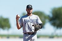 Peoria Javelinas third baseman Hudson Potts (13), of the San Diego Padres organization, during an Arizona Fall League game against the Surprise Saguaros at Surprise Stadium on October 17, 2018 in Surprise, Arizona. (Zachary Lucy/Four Seam Images)