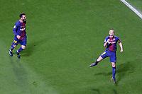 FC Barcelona's Leo Messi and Andres Iniesta celebrate goal during Spanish King's Cup Final match. April 21,2018.  *** Local Caption *** © pixathlon<br /> Contact: +49-40-22 63 02 60 , info@pixathlon.de