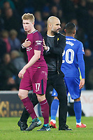 Manchester City manager Pep Guardiola holds Kevin De Bruyne of Manchester City after the final whistle of the Fly Emirates FA Cup Fourth Round match between Cardiff City and Manchester City at the Cardiff City Stadium, Wales, UK. Sunday 28 January 2018