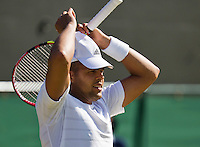 England, London, Juli 04, 2015, Tennis, Wimbledon,  Jo-Wilfried Tsonga (FRA) makes a gesture in his match against  Ivo Karlovic (CRO) <br /> Photo: Tennisimages/Henk Koster