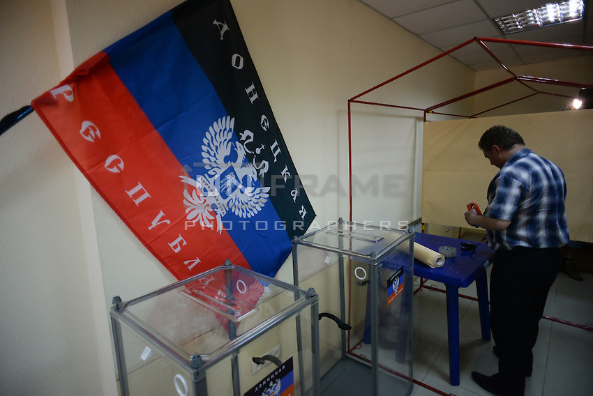 Empty ballot boxes on the day before the popular referendum called to separate the Eastern region from Ukraine. Donetsk, Ukraine