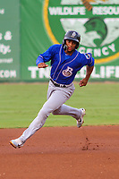 Biloxi Shuckers outfielder Corey Ray (1) races to third base during a Southern League game against the Jackson Generals on July 26, 2018 at The Ballpark at Jackson in Jackson, Tennessee. Jackson defeated Biloxi 9-5. (Brad Krause/Four Seam Images)
