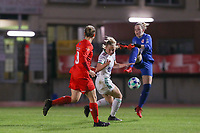 goalkeeper Zelie Lambert (1) of Woluwe attempt to block the ball of Tess Lameir (14) of OHL during a female soccer game between FC Femina White Star Woluwe and Oud Heverlee Leuven on the fourth matchday in the 2021 - 2022 season of Belgian Scooore Womens Super League , Friday 10 th of September 2021  in Woluwe , Belgium . PHOTO SPORTPIX | SEVIL OKTEM