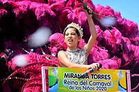 BARRANQUILLA - COLOMBIA, 22-02-2020: Miranda Torres reina del Carnaval de los niños 2020 durante el desfile Batalla de Flores del Carnaval de Barranquilla 2019, patrimonio inmaterial de la humanidad, que se lleva a cabo entre el 22 y el 25 de febrero de 2020 en la ciudad de Barranquilla. / Miranda Torres queen of child Carnival 2020 during the Batalla de las Flores as part of the Barranquilla Carnival 2020, intangible heritage of mankind, that be held between March 22 to 25, 2020, at Barranquilla city. Photo: VizzorImage / Alfonso Cervantes / Cont.