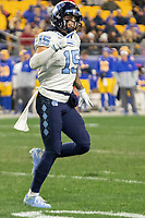 North Carolina wide receiver Beau Corrales (15) celebrates his 21-yard touchdown catch. The Pitt Panthers defeated the North Carolina Tarheels 34-27 in overtime in the football game on November 14, 2019 at Heinz Field, Pittsburgh, Pennsylvania.