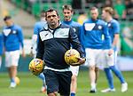 Celtic v St Johnstone …26.08.17… Celtic Park… SPFL<br />Callum Davidson leads the saints pre-match warm-up<br />Picture by Graeme Hart.<br />Copyright Perthshire Picture Agency<br />Tel: 01738 623350  Mobile: 07990 594431
