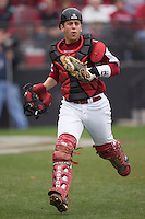 Kyle Enders (18) hustles down the first base line on defense versus the East Carolina Pirates at Sarge Frye Field in Columbia, SC, Sunday, February 24, 2008.