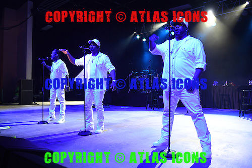 POMPANO BEACH FL - DECEMBER 02: Shawn Stockman, Wanya Morris and Nathan Morris of Boys ll Men perform at The Pompano Beach Amphitheater on December 2, 2016 in Pompano Beach, Florida. Photo by Larry Marano © 2016